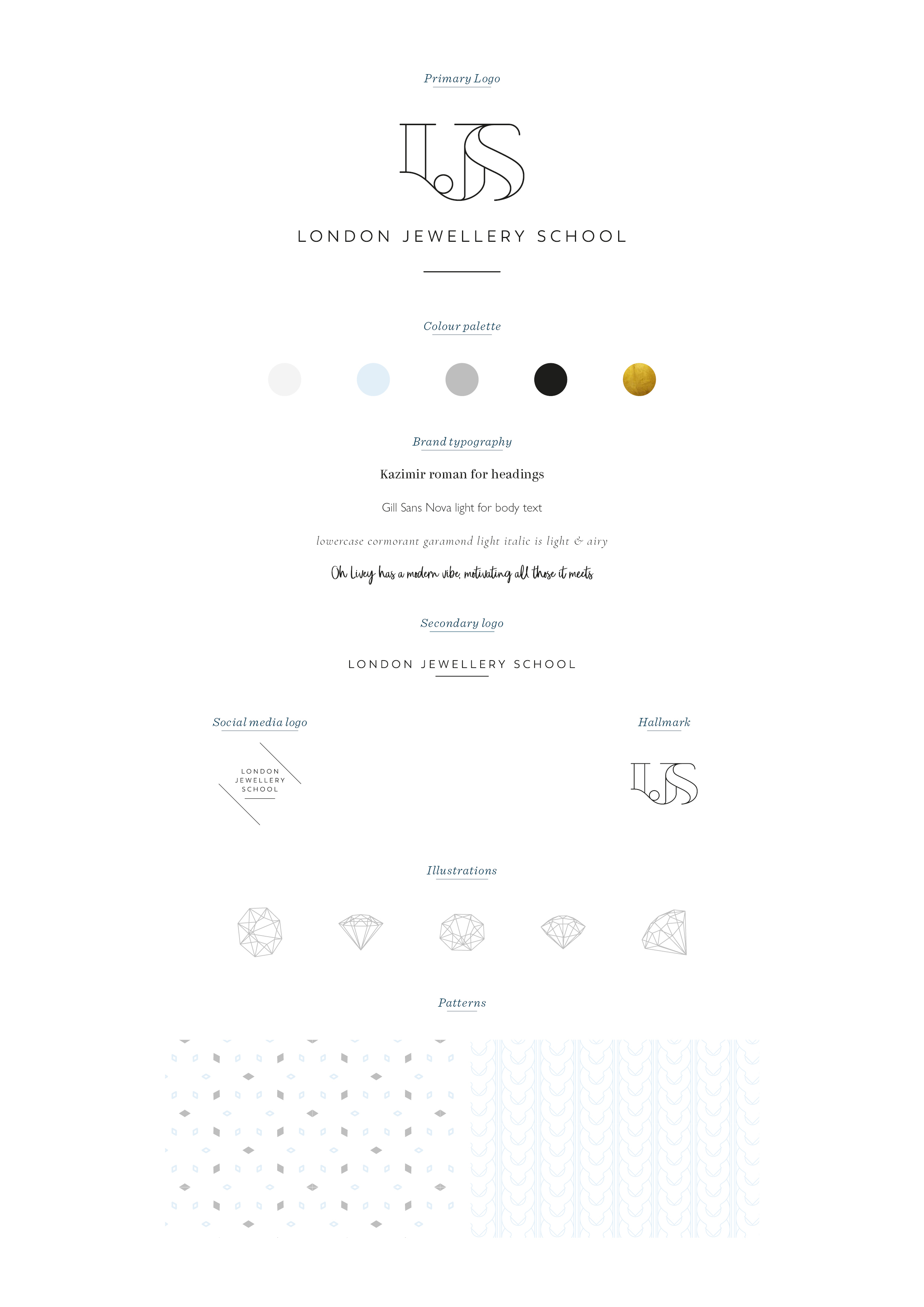 London Jewellery School, logo design and brand identity by Ditto Creative, branding agency in Kent UK