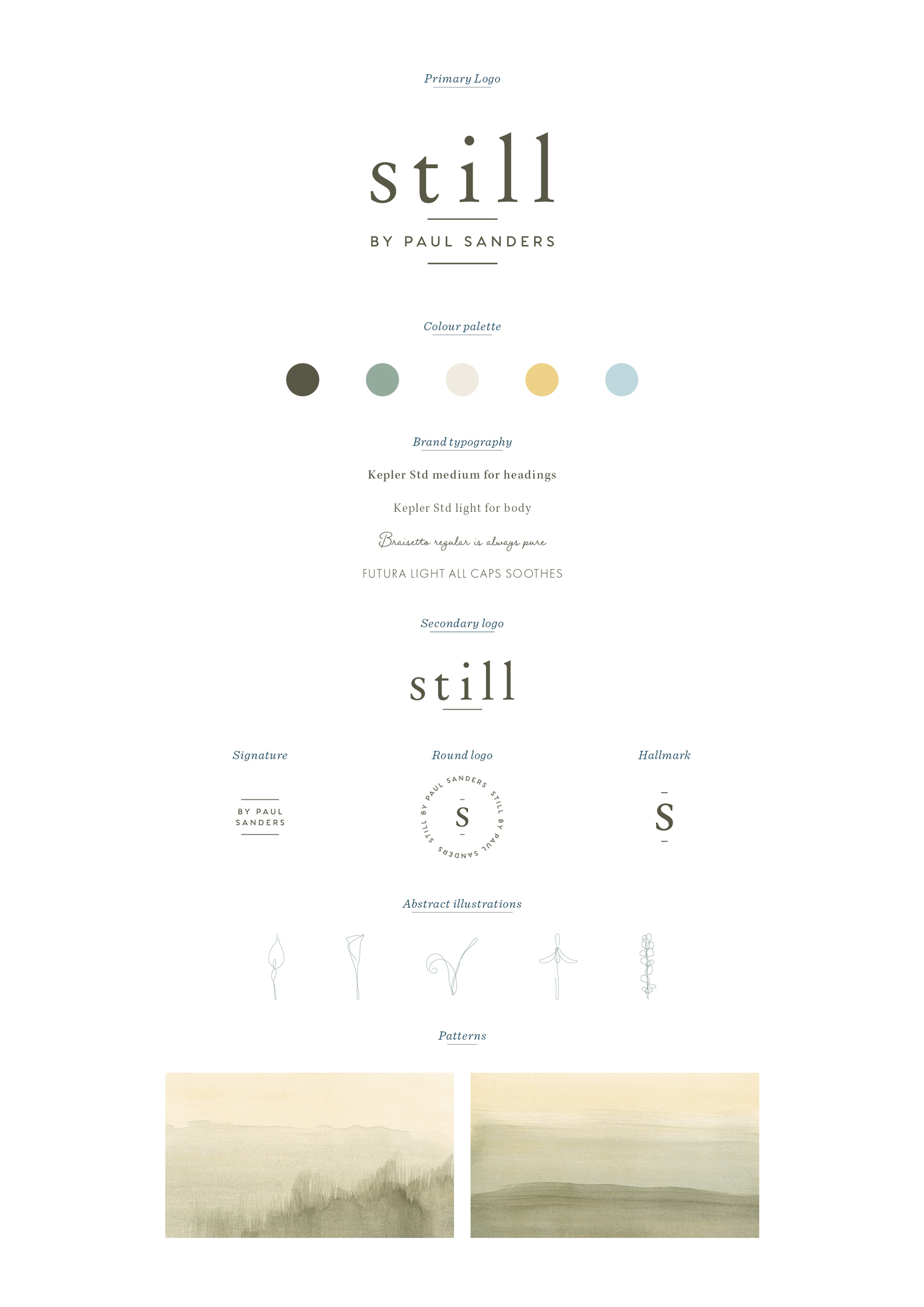 Brand board for Still by Paul Sanders, logo design and brand identity by Ditto Creative, boutique branding agency Kent