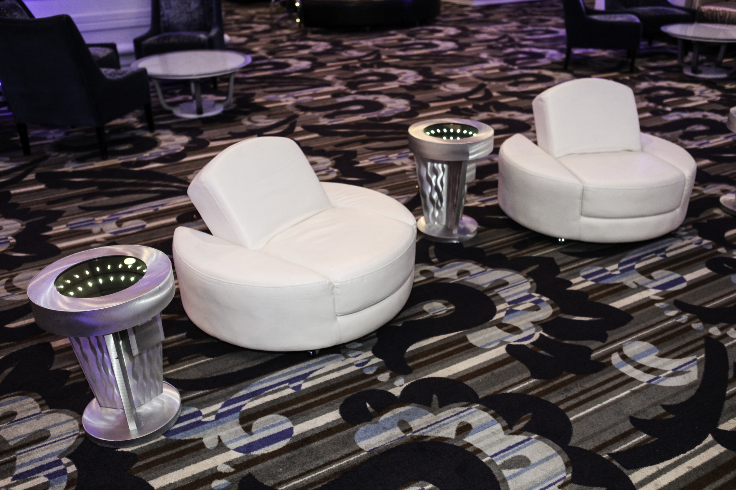 Lounge- White Leather Circular Chair Ottoman with Brushed Silver Pedestal Infinity Tables_2.jpg