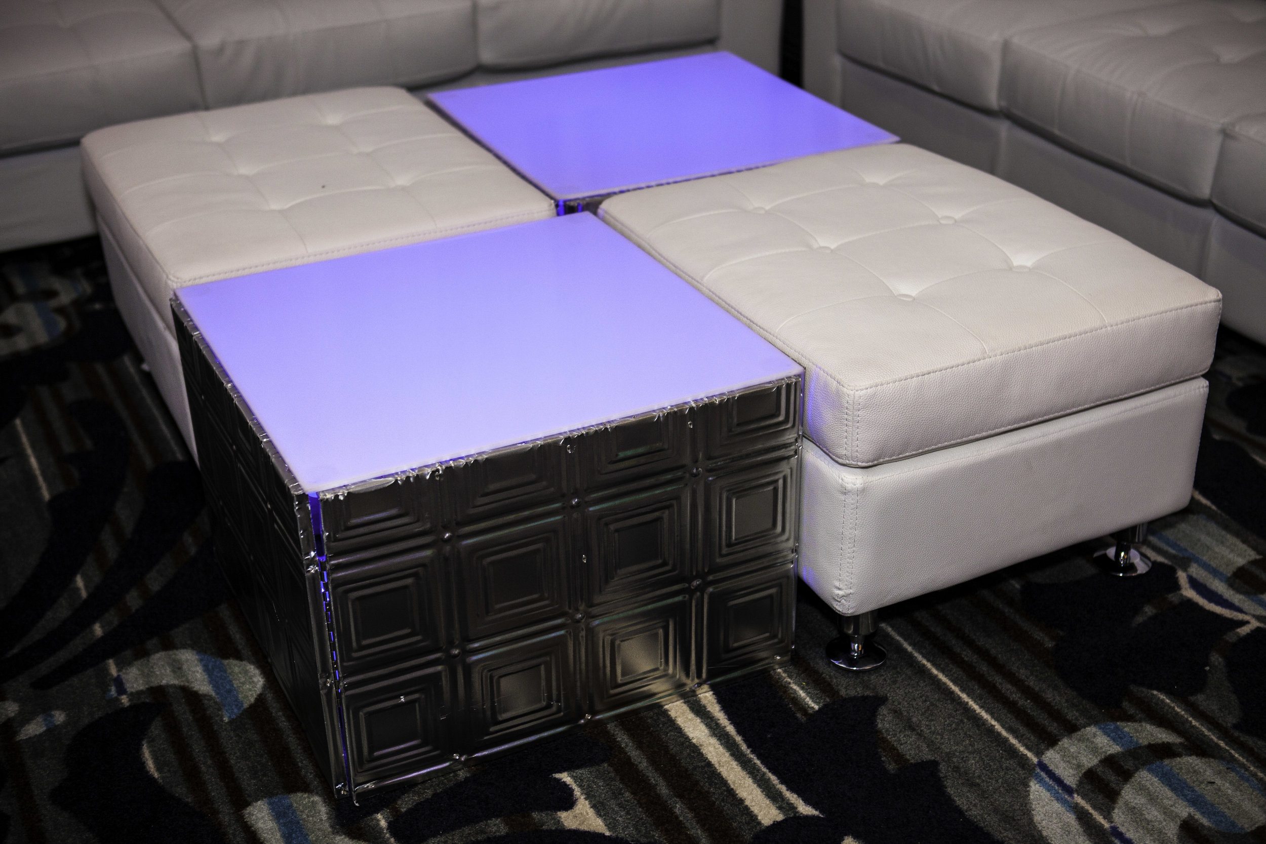 Ottoman and Table- White Leather Tufted and Silver Plated_1.jpg