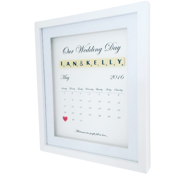 Our       CalendarArt      perfectly depicts that special day with a heart around the date when the rest of the happy couples life began. Not only is this frame a unique and thoughtful gift for the newlyweds, it also assures that neither of them have an excuse to forget an anniversary.