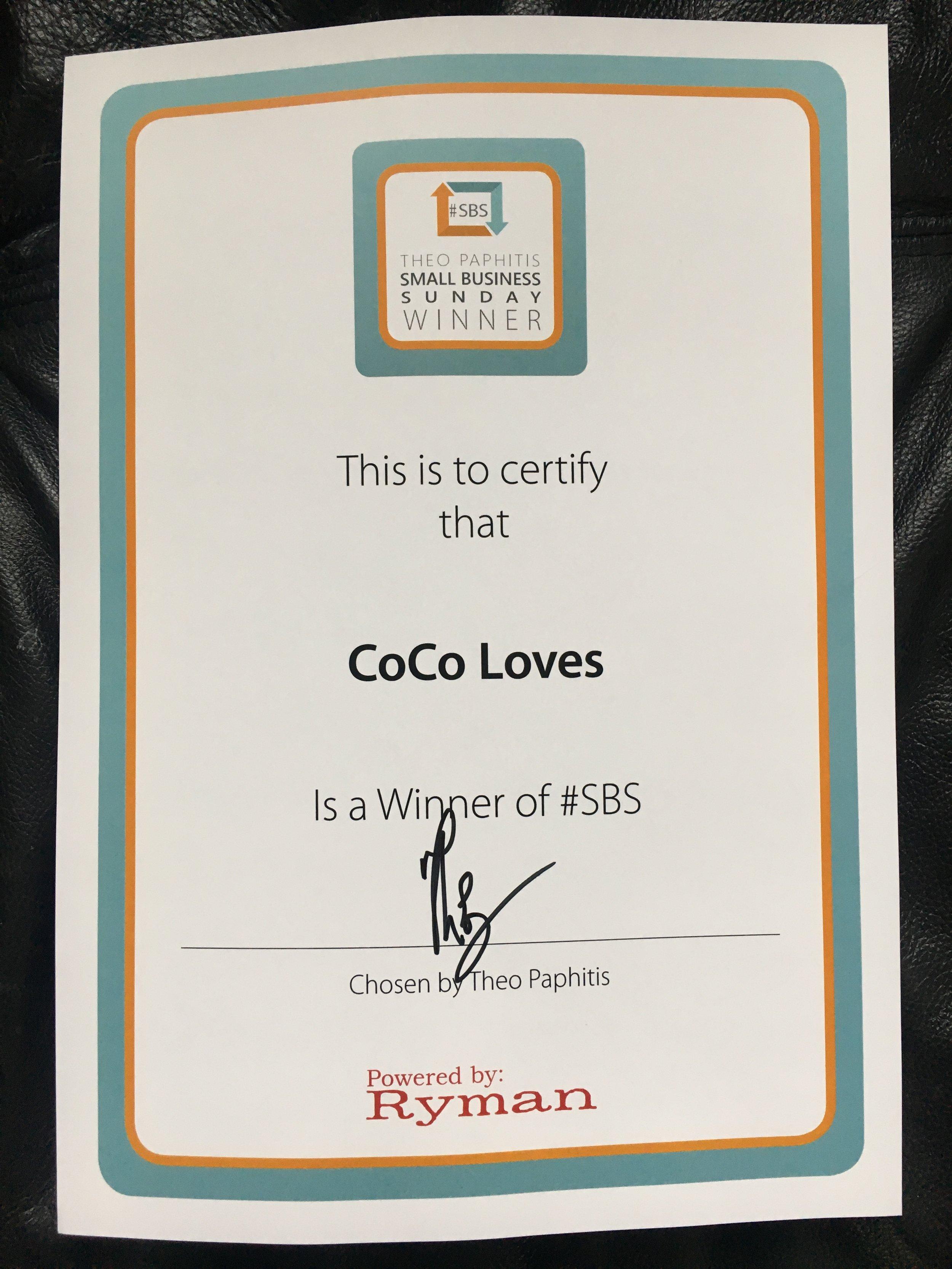 CoCo Loves #SBS Winner