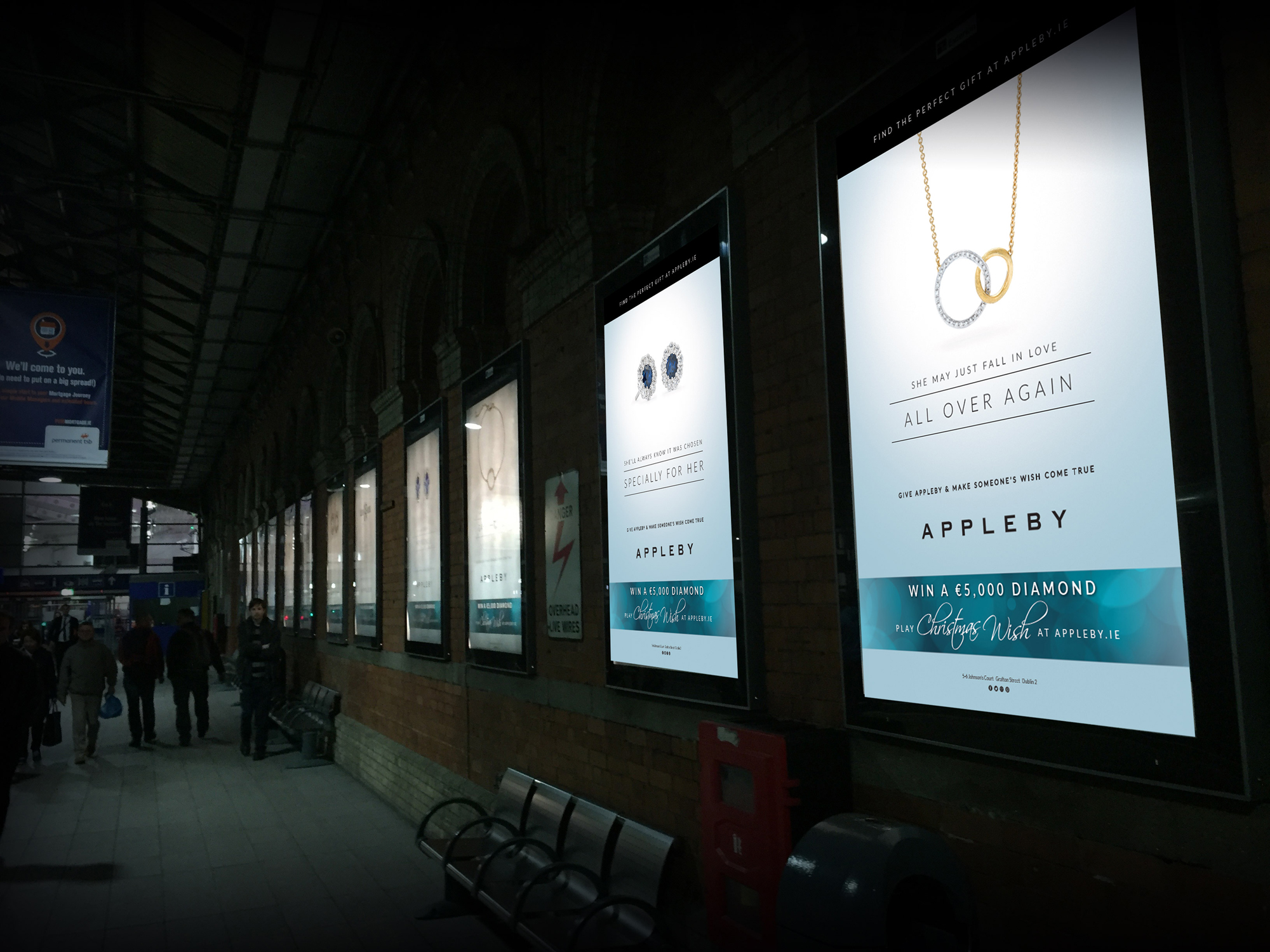 Poster series on platform at Connolly station