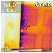 Knee wall door trim air leakage