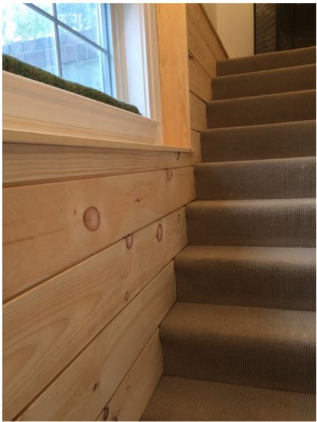 Basement Stair Entry - Pine w/ Knickle Gap Shiplap Reveal