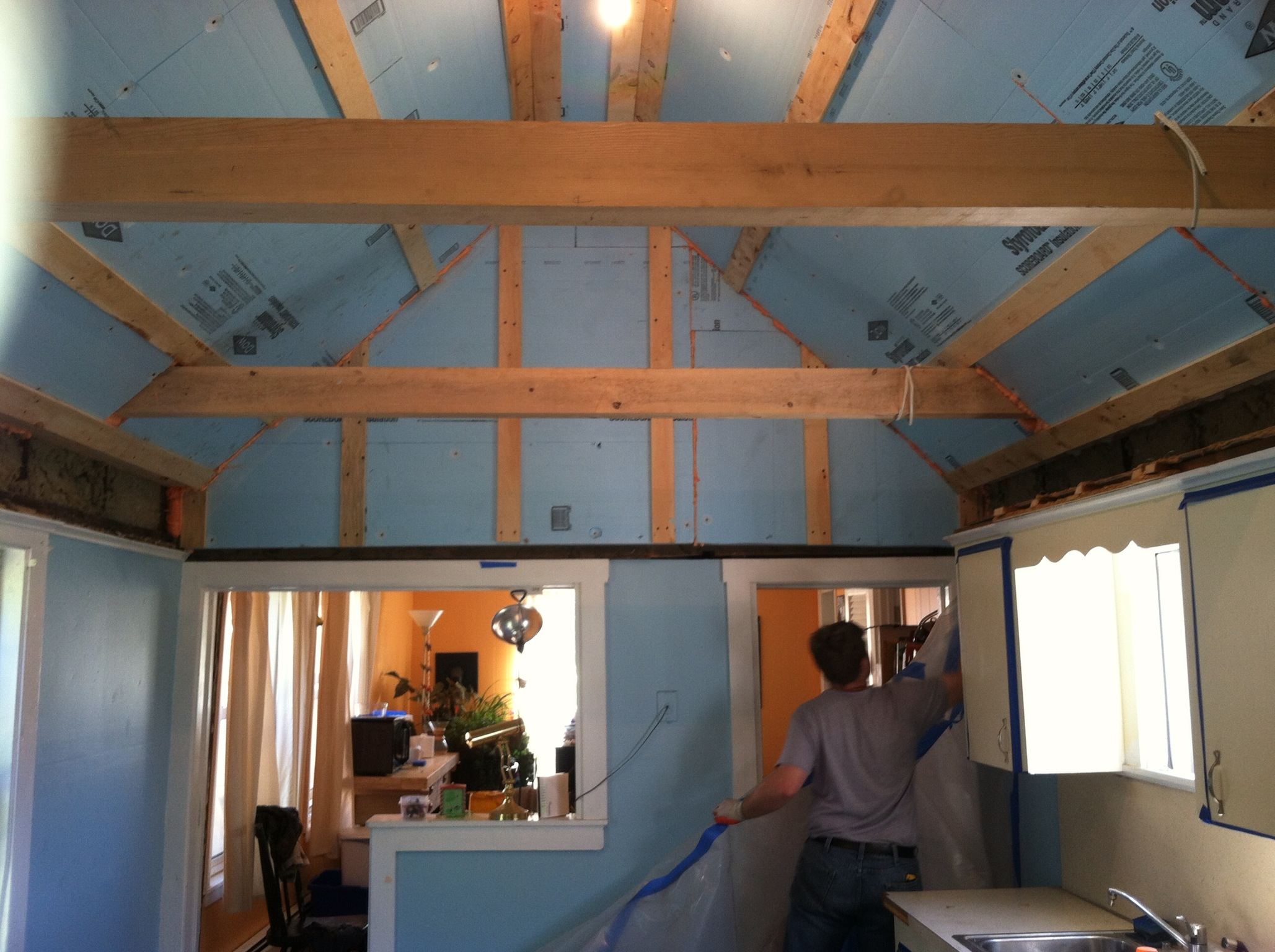 Flat Ceiling to Lofted Ceiling - Super Insulated - Pre Drywall