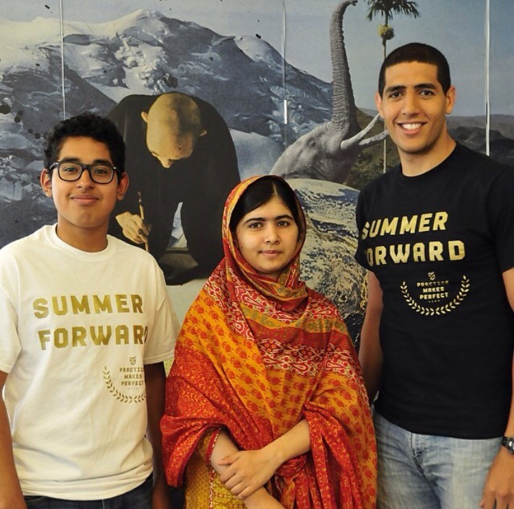 Irving Torres with Nobel Peace Prize winner Malala Yousafzai and PMP Co-Founder Karim Abouelnaga.