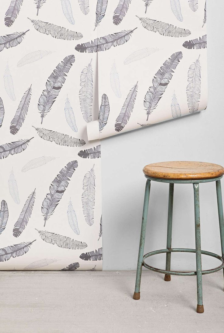 Grey Goose Feather RemovableWallpaper from Urban Outfitters