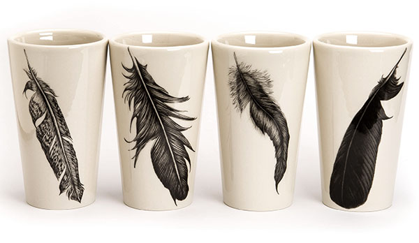 Set of 4 Ceramic Tumblers, Feathers from White's Mercantile