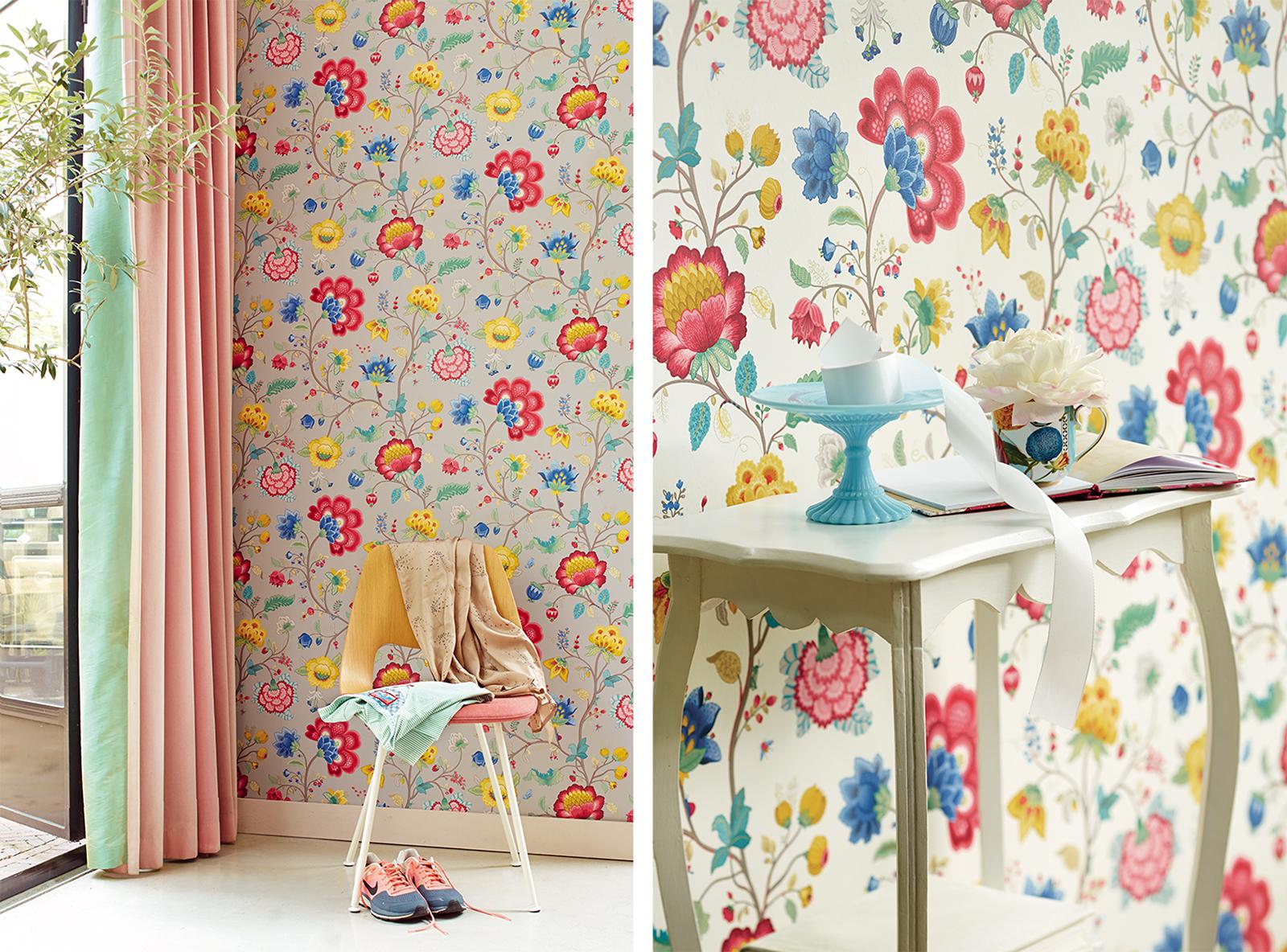 Epona Light Grey Floral Fantasy Wallpaper from  Brewster