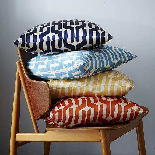 Silk Stacked Geo Pillow Cover - Larkspur from  West Elm