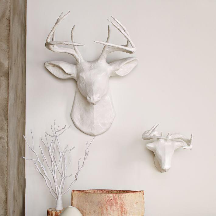 Papier-Mache White Deer Animal Sculpture from  West Elm