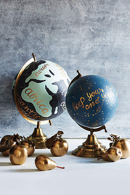 Hand painted Wanderlust Globe from  Anthropologie