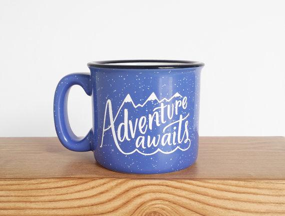 Adventure Awaits Campfire Mug from  Wild and Free Designs