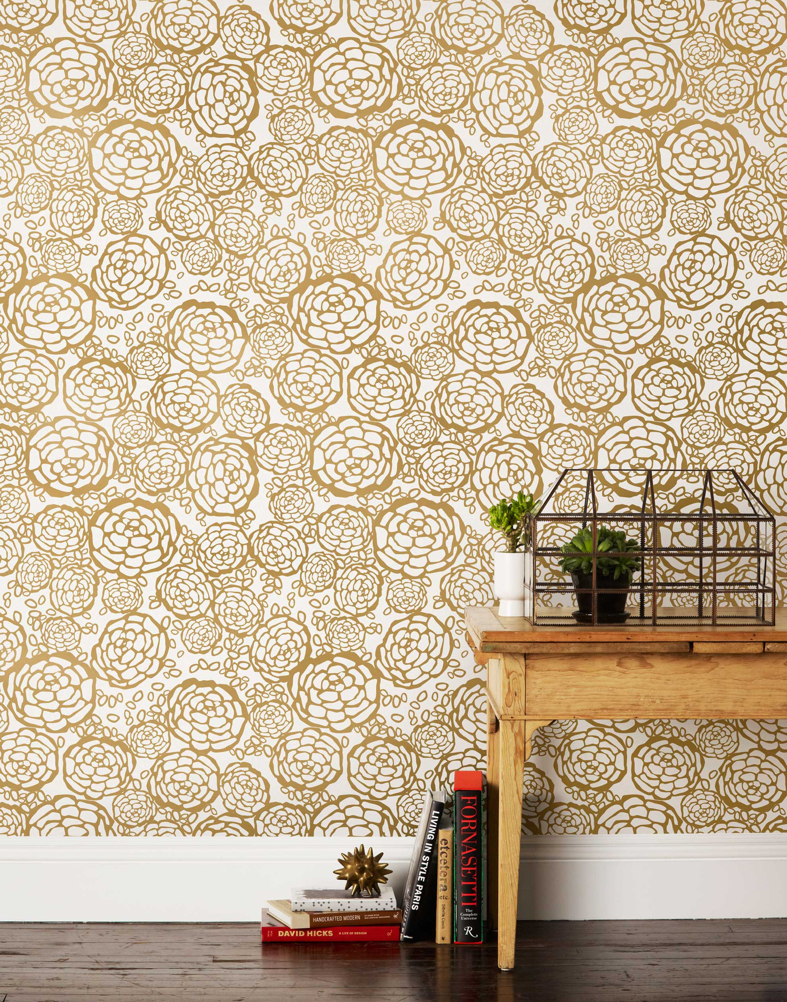 Petal Pusher Gold Wallpaper from  Hygge & West