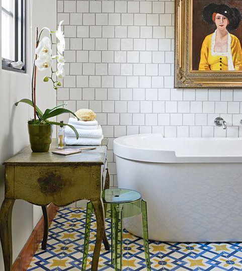 Colorful bathroom floor from  Cement Tiles