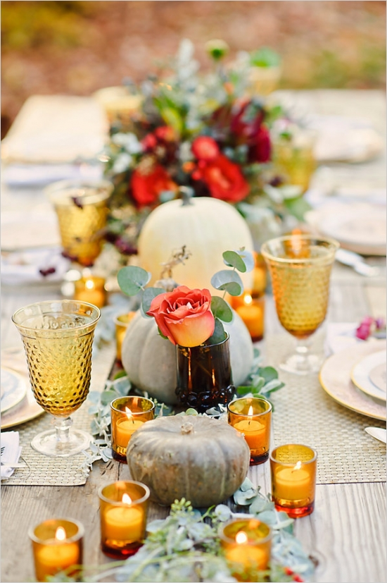 Amber Glass Wedding Table from  Wedding Chicks