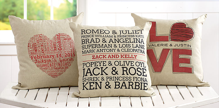 Personalize your Love Pillow from  Lillian Vernon
