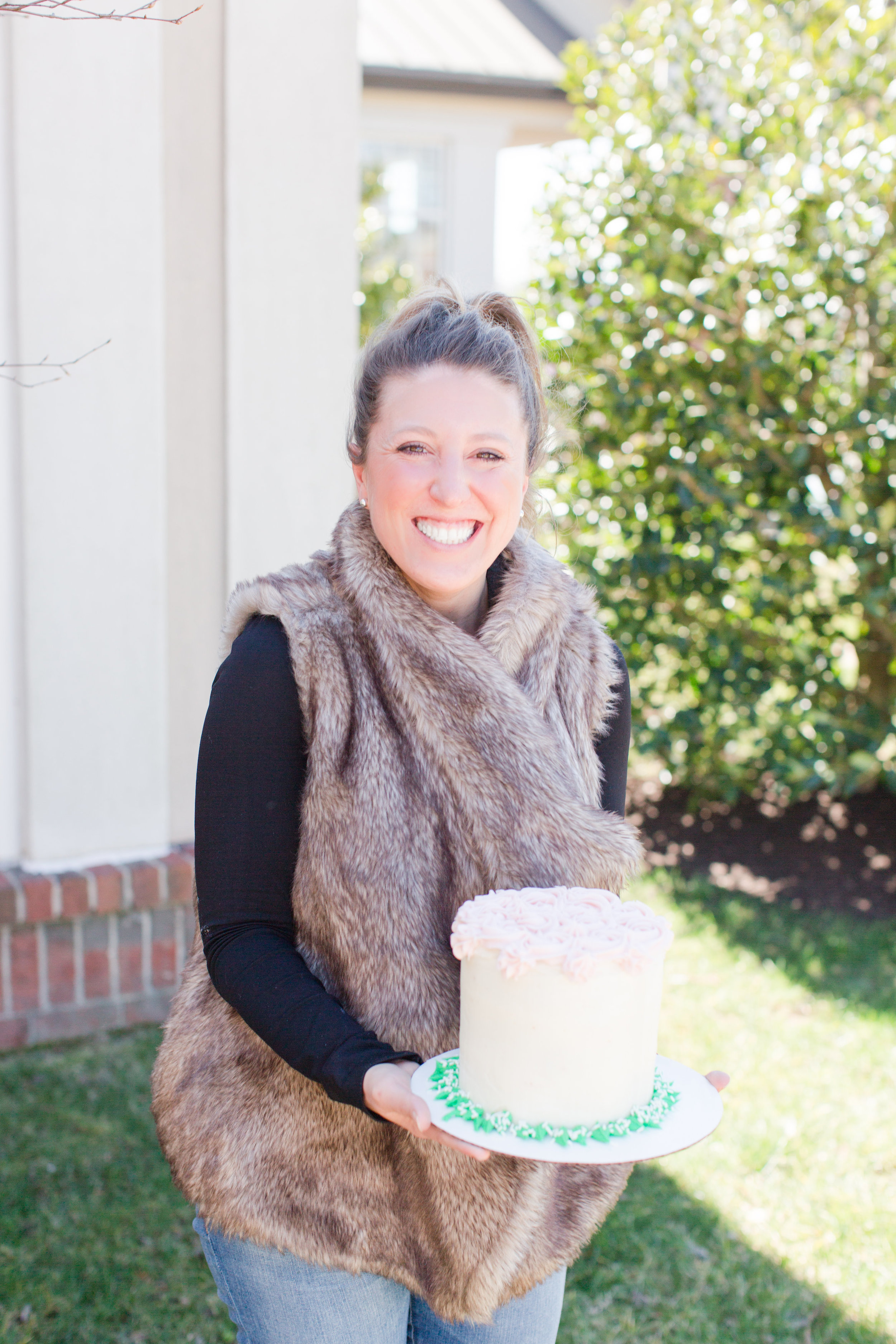 i did it! me and my beautiful gluten free cake that is now in my freezer