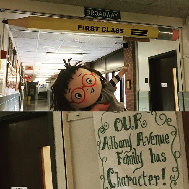 Louise got a new pencil today at Albany Ave School in Farmingdale Long Island !! #whereslouisenow #louiselovesart #harperchildrens @merrymakersinc