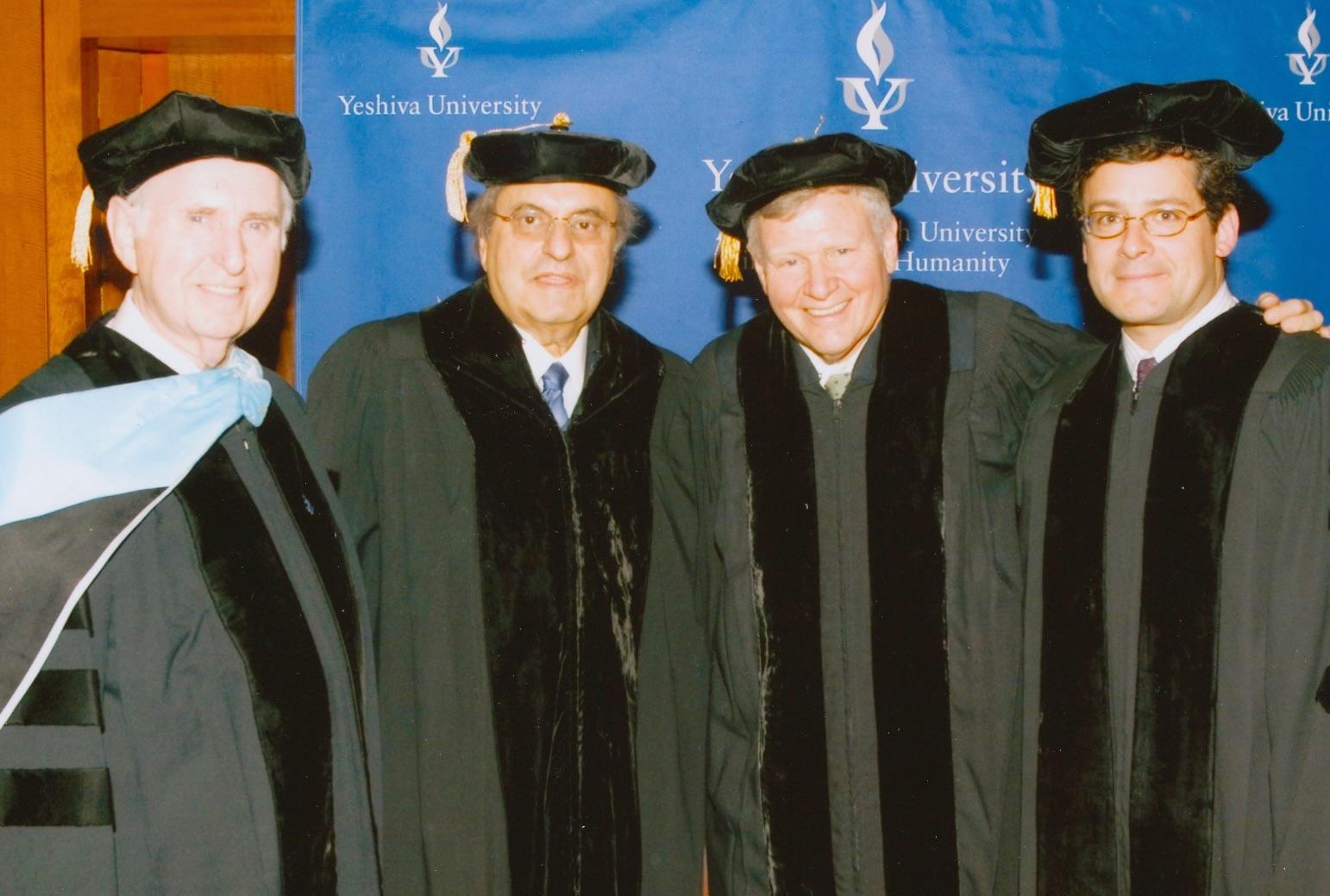 Herbert Dobrinsky, Leon H. Charney, Barry Shrage and Jeffrey B. Schwartz at Yeshiva University in 2005.