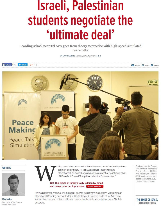 http://www.timesofisrael.com/israeli-palestinian-students-negotiate-the-ultimate-deal/