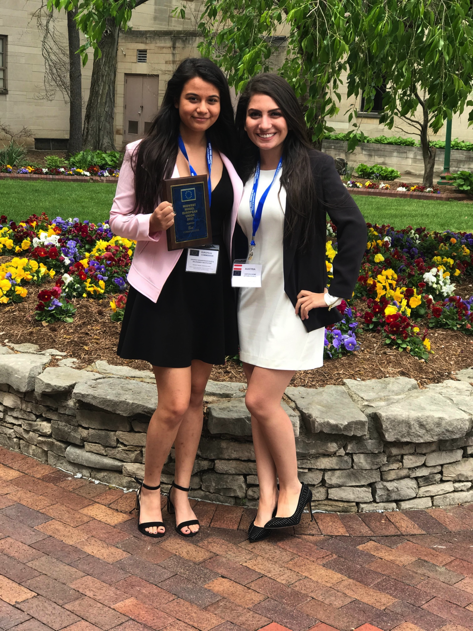 Ashley Amian and Lucia Barnes participated in the diplomatic simulation, the students represented Austria.