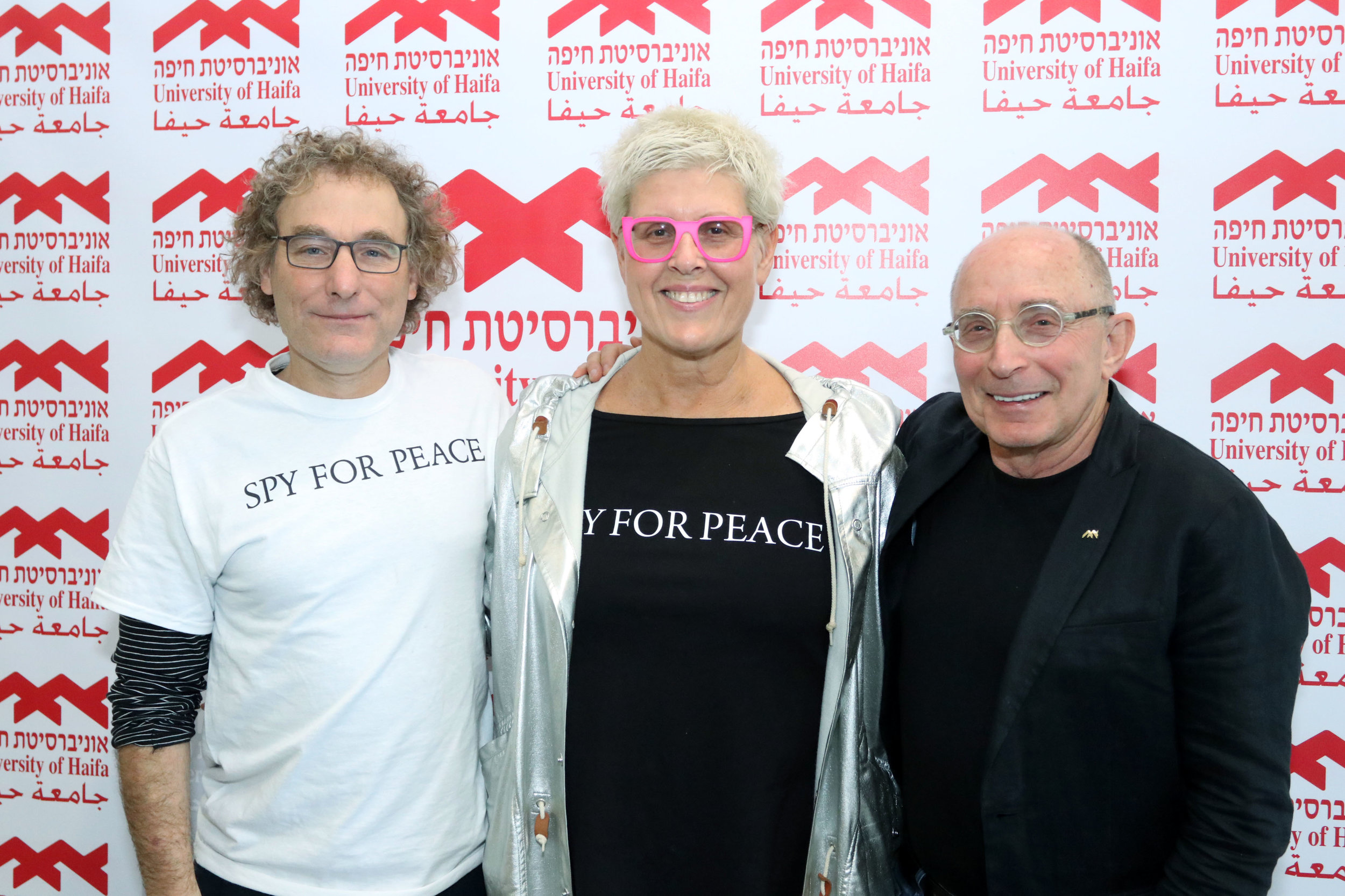 L-R: Sapir Handelman (Research & Simulation Leader), Tzili Charney (Center Founder) and Ron Robin, President of the University of Haifa.