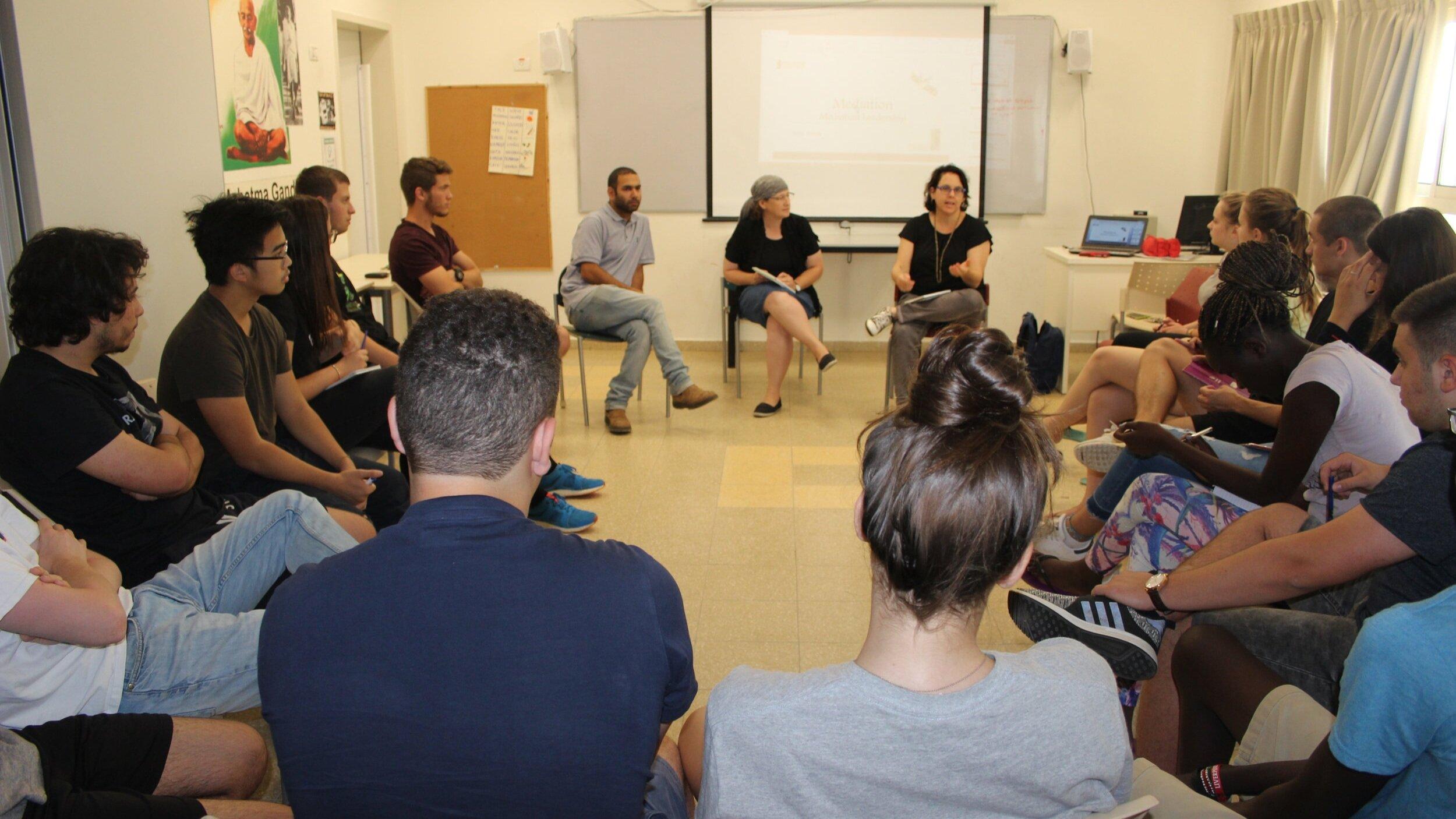 Ben Dvash, Hakfar Hayarok head of boarding school, Tzurit Yehuda, mediation facilitator, Michal Atzmon, CRC director, with the first cohort of our mediators!