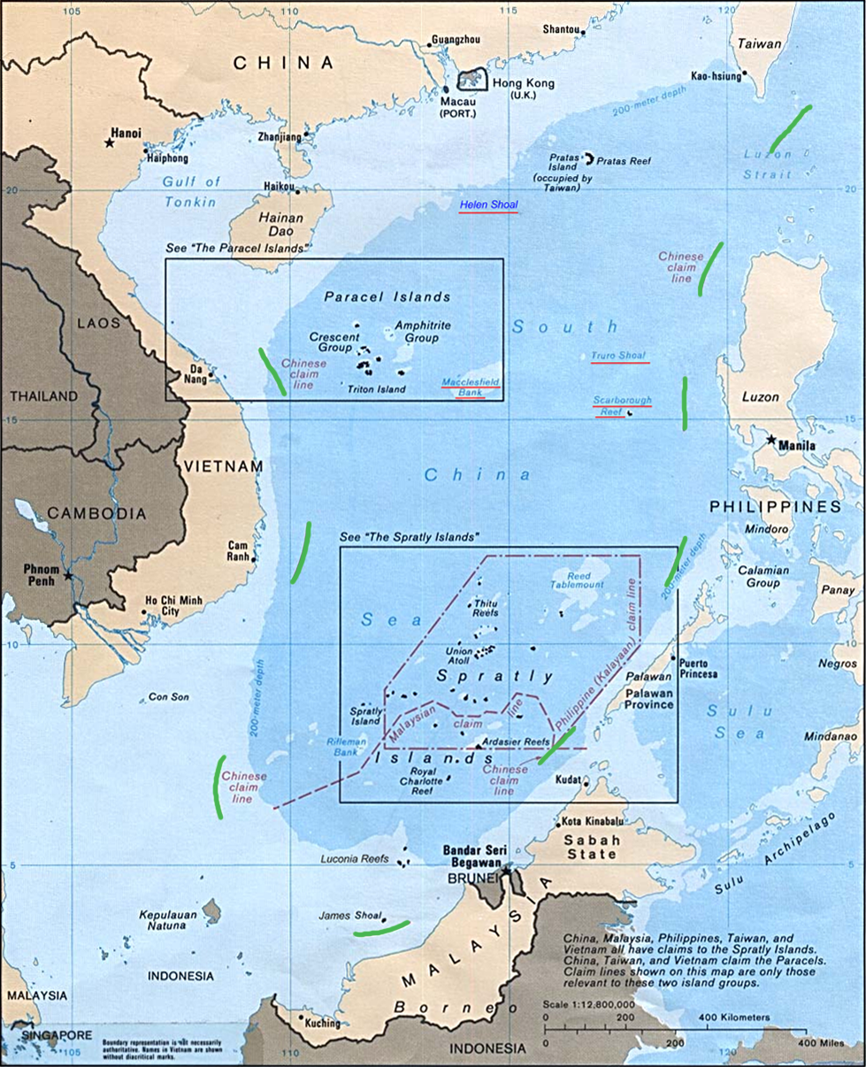China's 9-dash line shown in green. Image: Central Intelligence Agency.