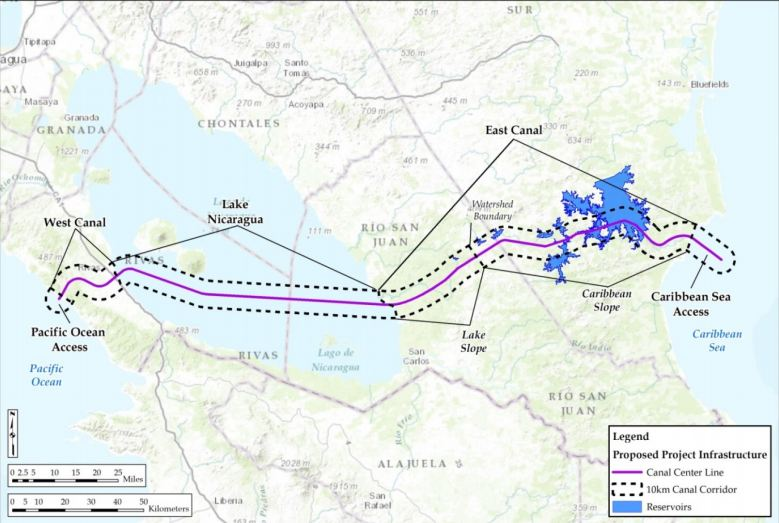 Proposed route of Nicaragua Canal. Image: ERM.