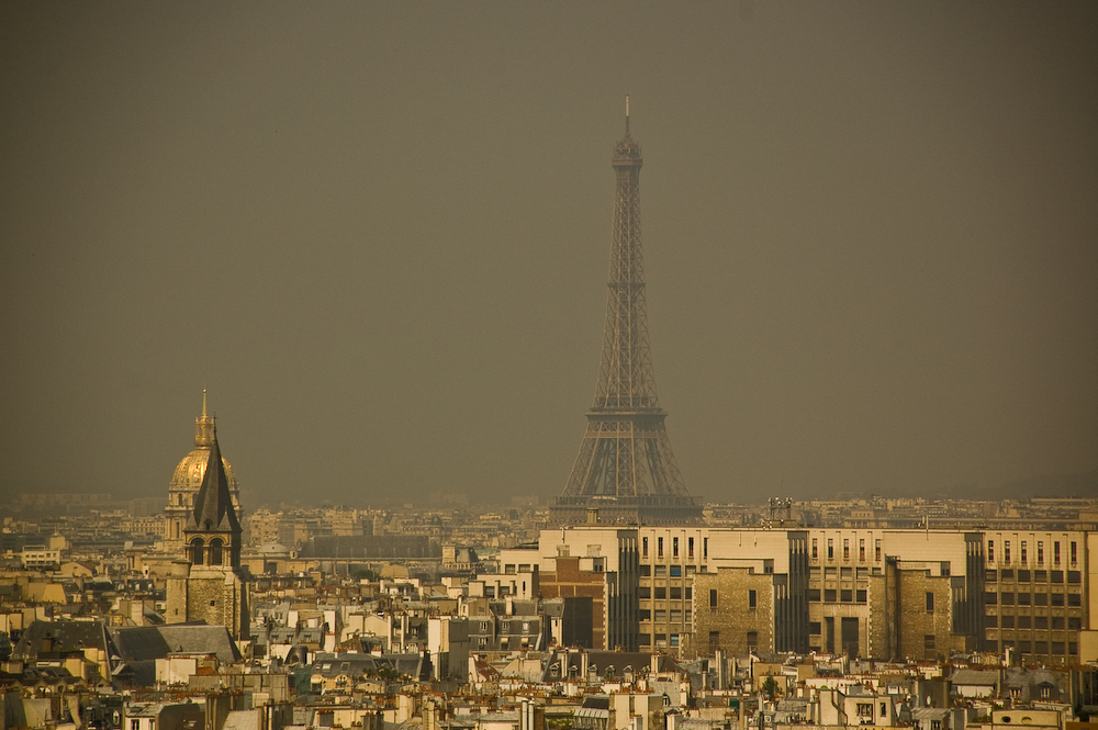 The Eiffel Tower in Paris, France, seen through smog pollution.  Photo: Olya Sanakoev