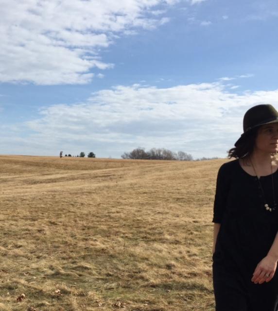 Katrina wears dress  Model no.12 in Black Linen .