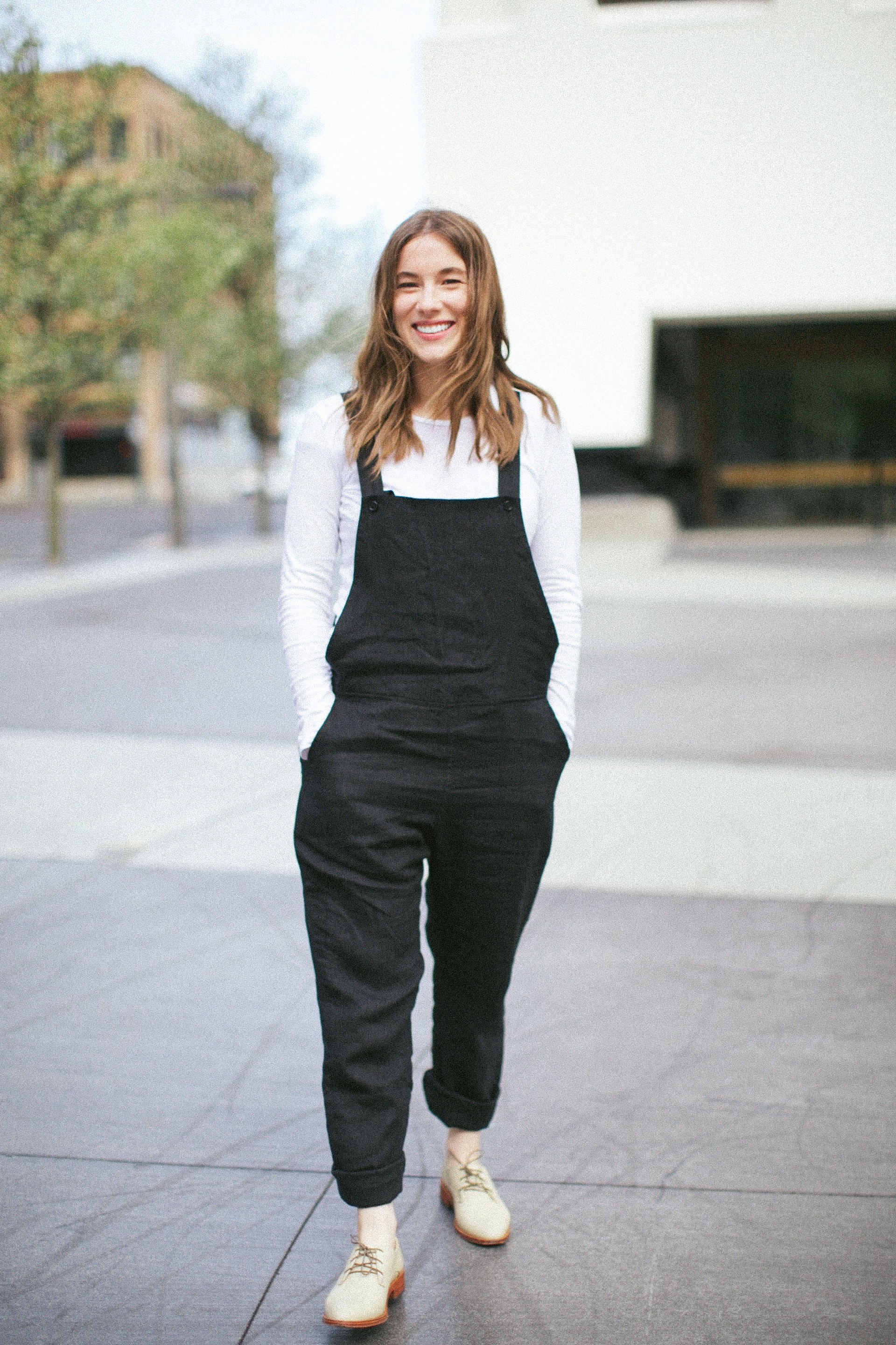 Gina wearing the  Overalls in Black  Linen.