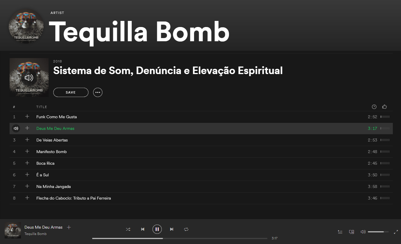 Tequilla Bomb Available on Spotify