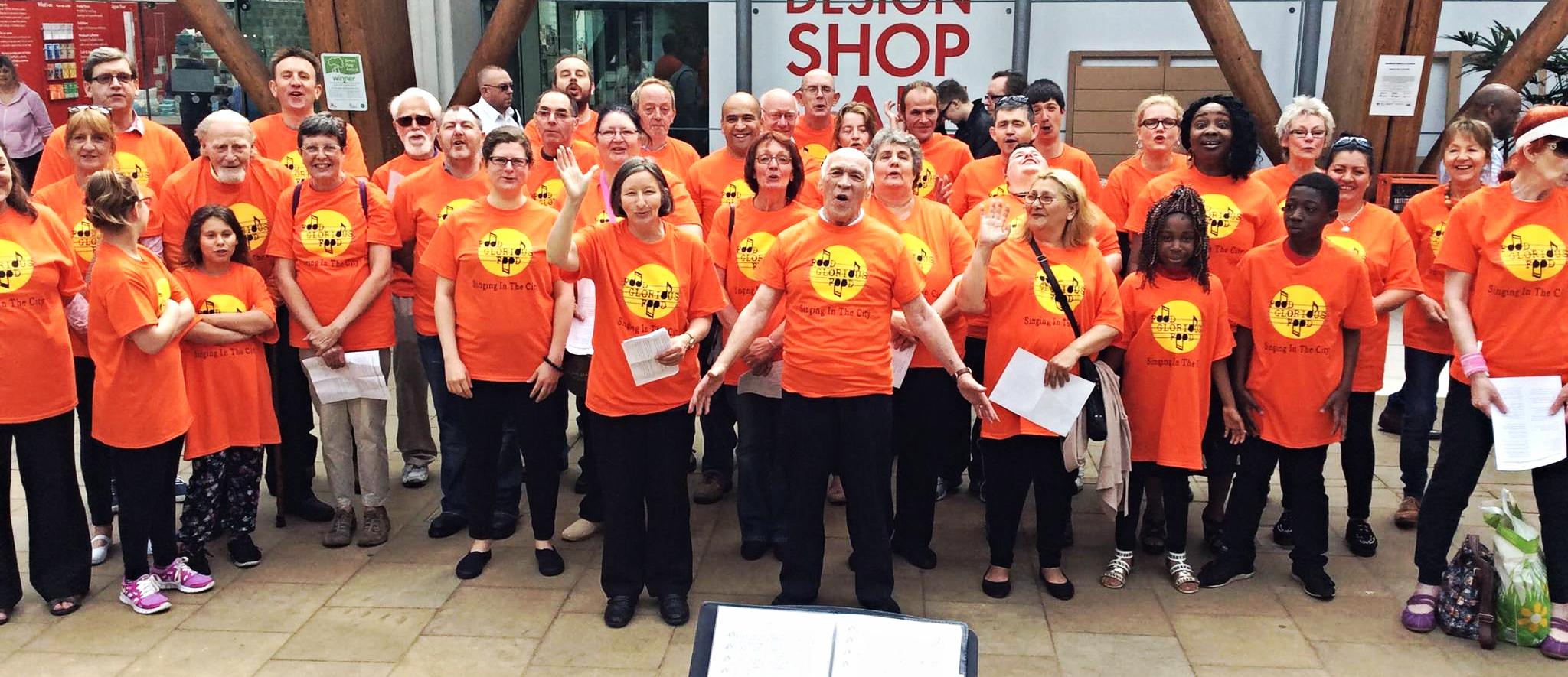some of the Food Glorious Food choir, performing at the Winter Gardens in Sheffield.