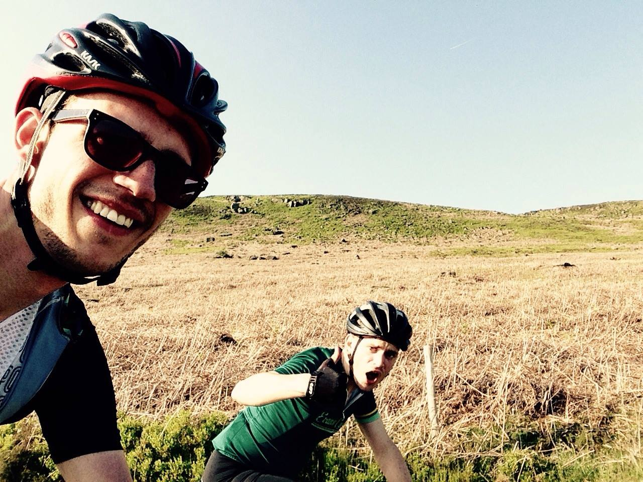 Myself and James heading up New Road to Stanage Edge. Probably talking about Miles or Django.