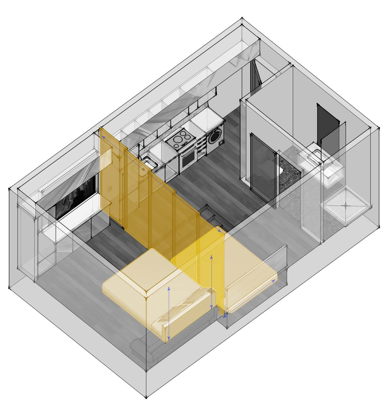 Pull down bed from the ceiling, and pull out bed from under the floor can be deployed when it's sleeping time. A series of collapsible panel can be pull out of its pocket to separate the two spaces. Drawings by Andrew Lafosse.