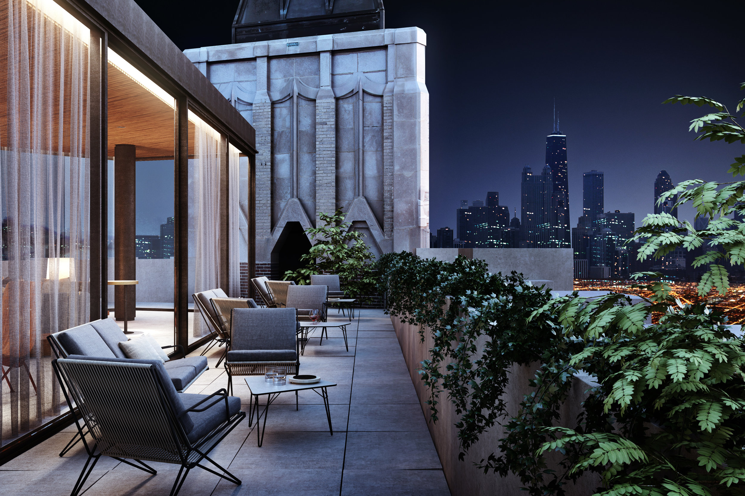 They Robey Hotel, Chicago - Vip Rooftop Terrace - Up & Up - Marc Merckx Interiors