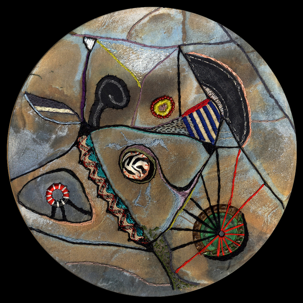 "Distribution of Zigs & Zags  mixed media embroidery on photo-printed silk - 7"" diameter set in 10"" square panel"