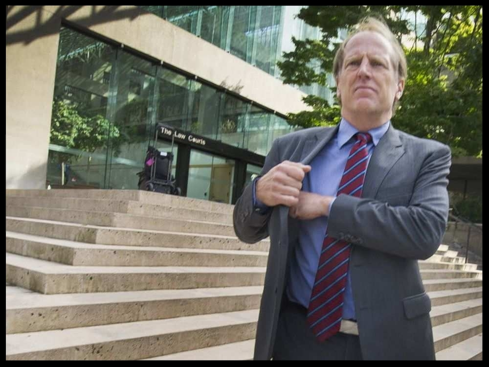 Lawyer Ross McGowan in front of BC Supreme Court in Vancouver, B.C., Sept. 8, 2016. Ross McGowan is one of the lawyers bringing a case against Chinese citizens who live in B.C. but lost commercial cases in China. These cases against B.C. property are on the increase .ARLEN REDEKOP /PNG