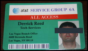 """Fraudsters could buy this fake AT&T employee ID card from """"Celtic"""" to fatten up their wallets ."""