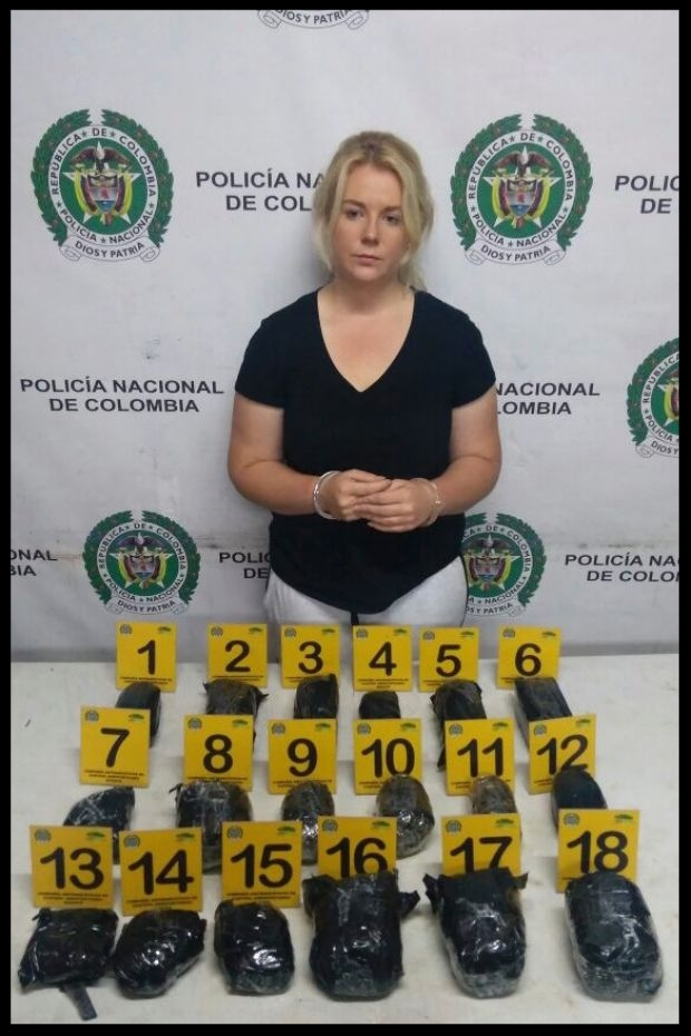 Colombian police released this photo of Cassandra Sainsbury with the alleged drugs .  Photo: AP