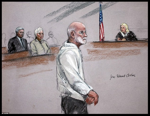 Appearance: In this courtroom sketch, James 'Whitey' Bulger stands during his initial appearance in a federal courtroom in Boston. His brother William Bulger, left, and Judge Marianne Bowler, right, can be seen.