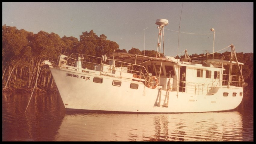 Lee and Janet lived aboard the MV Jessie Raye in their early days in Australia.(Courtesy of Janet Lafferty)