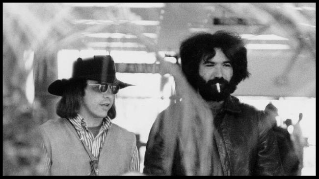 """Owsley """"Bear' Stanley, left, with Jerry Garcia of The Grateful Dead in 1969. Picture: Rosie McGhee"""