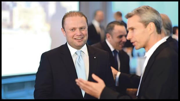 Joseph Muscat and Keith Schembri with Henley president Chris Kalin.