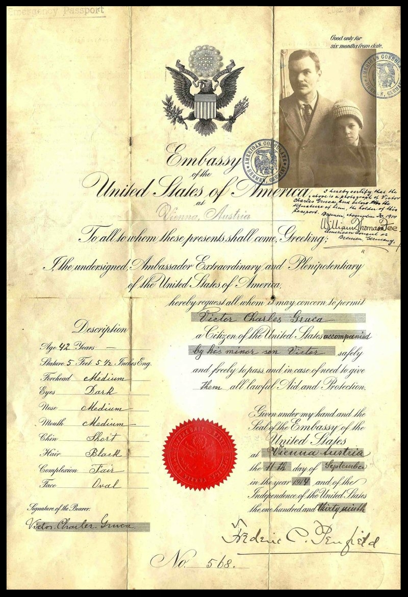 One of the earliest passport photos, from 1914, appears to have been added later as requirements were updated.