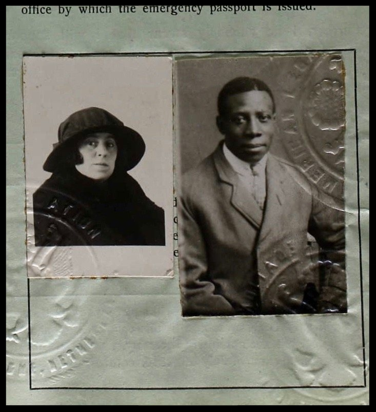 The joint passport of Vaudeville performer Walter Foster and his wife, Matilda, dating from 1922