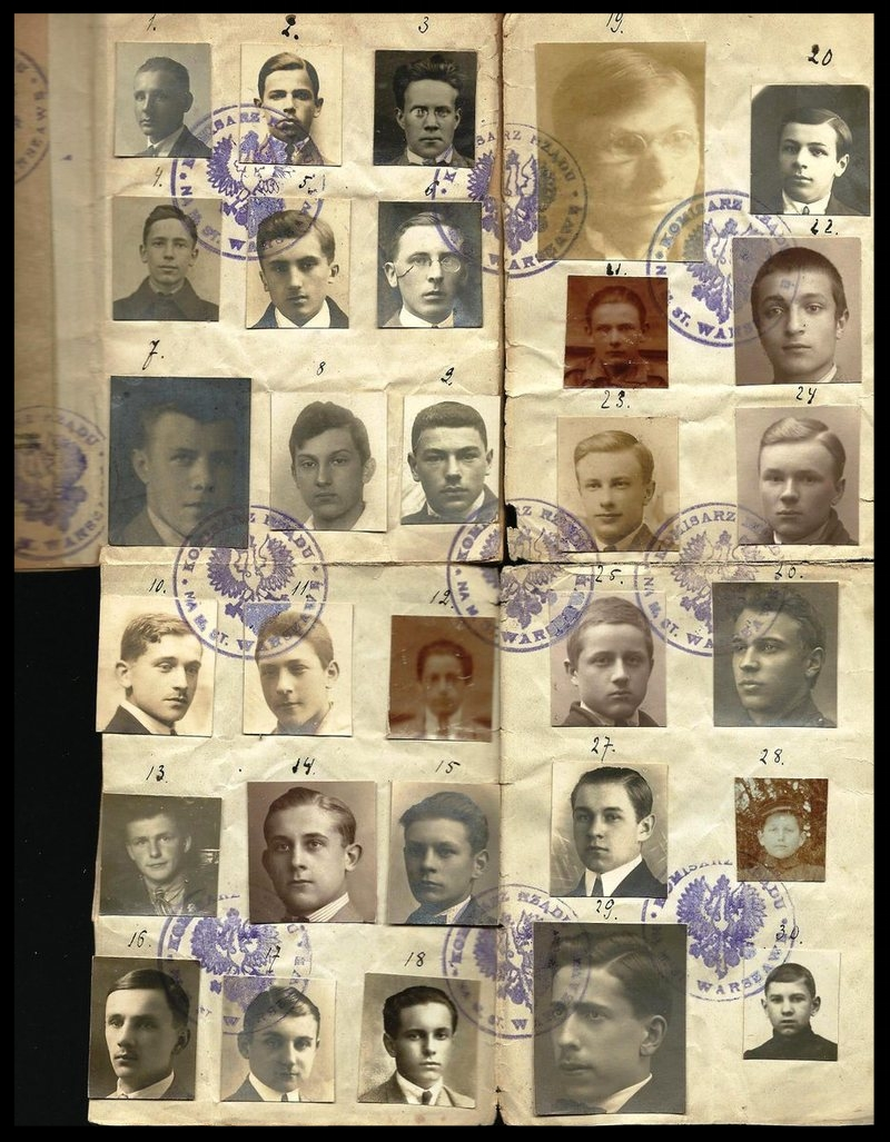 This collective passport was issued to a Polish group in 1923, and featured a total of 30 men, who appear to have been high school students